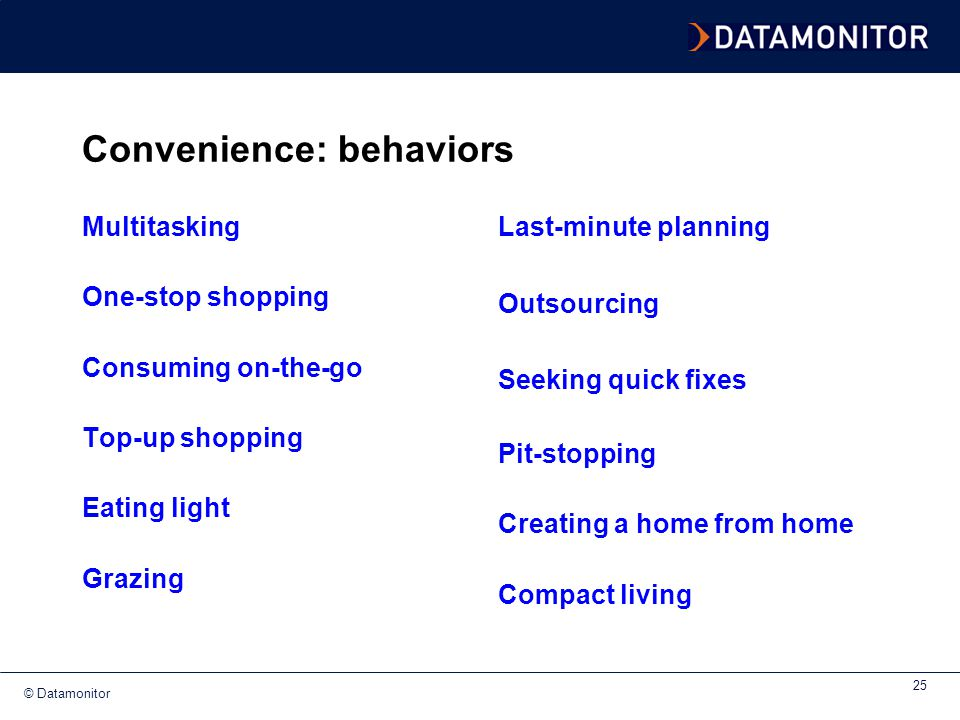 Convenience: behaviors