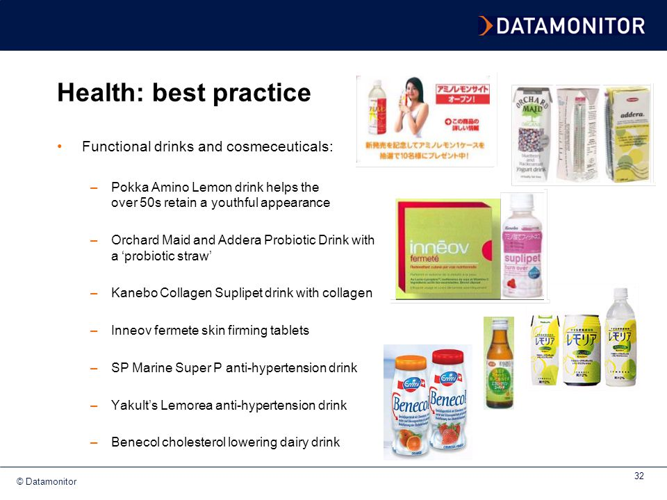 Health: best practice Functional drinks and cosmeceuticals: