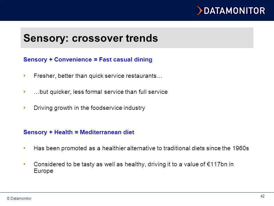 Sensory: crossover trends