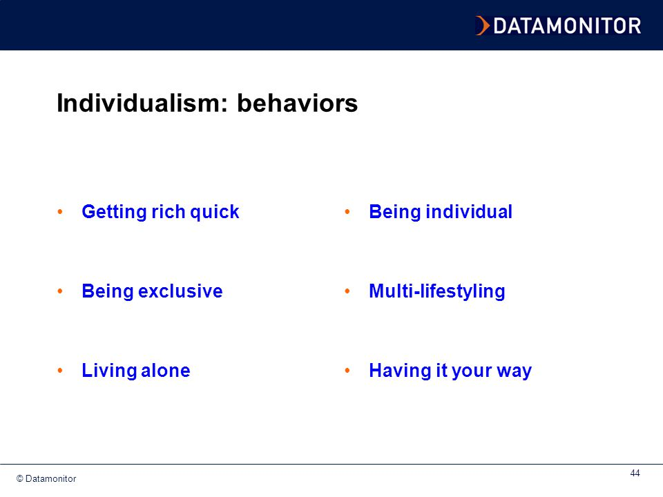Individualism: behaviors