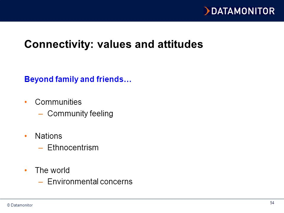 Connectivity: values and attitudes