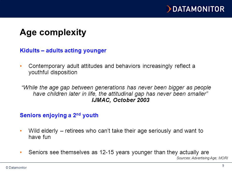 Age complexity Kidults – adults acting younger