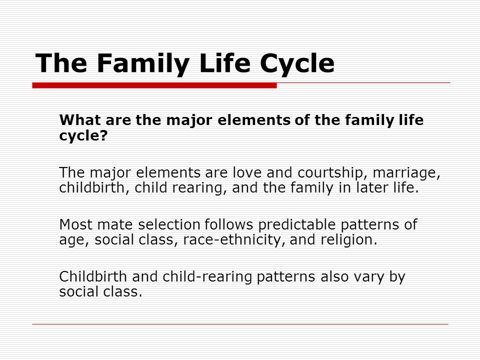 The Family Life Cycle What are the major elements of the family life cycle