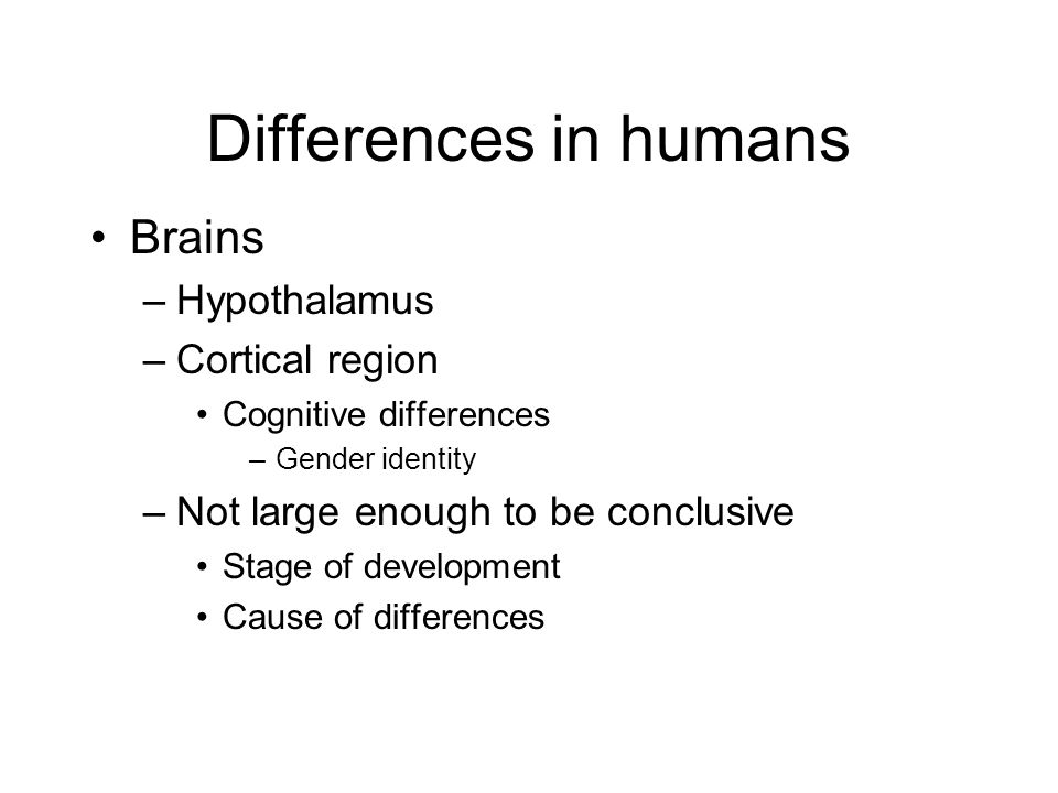 Differences in humans Brains Hypothalamus Cortical region