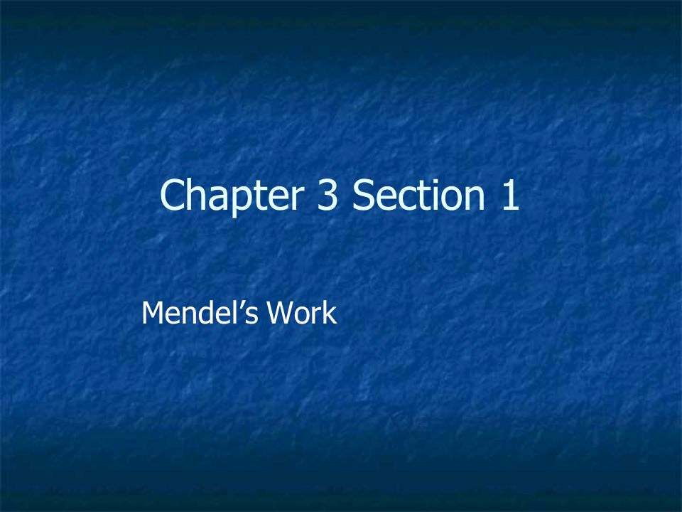 Chapter 3 Section 1 Mendel's Work