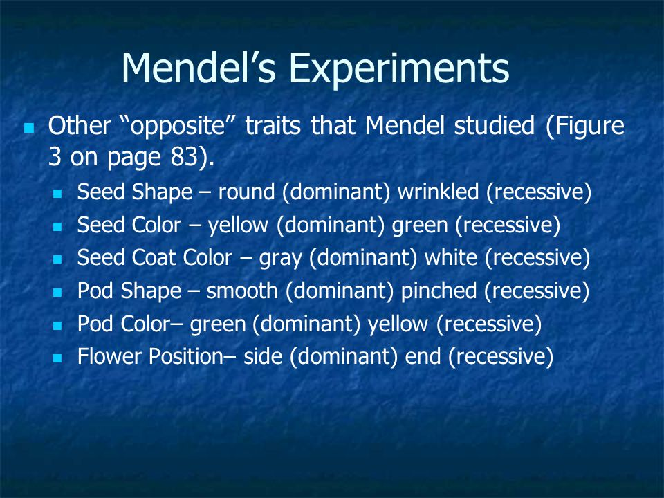 Mendel's Experiments Other opposite traits that Mendel studied (Figure 3 on page 83). Seed Shape – round (dominant) wrinkled (recessive)