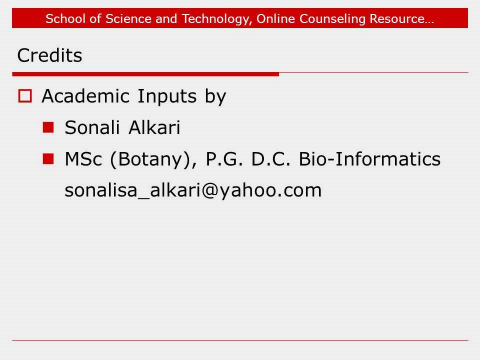 Credits Academic Inputs by. Sonali Alkari. MSc (Botany), P.G.