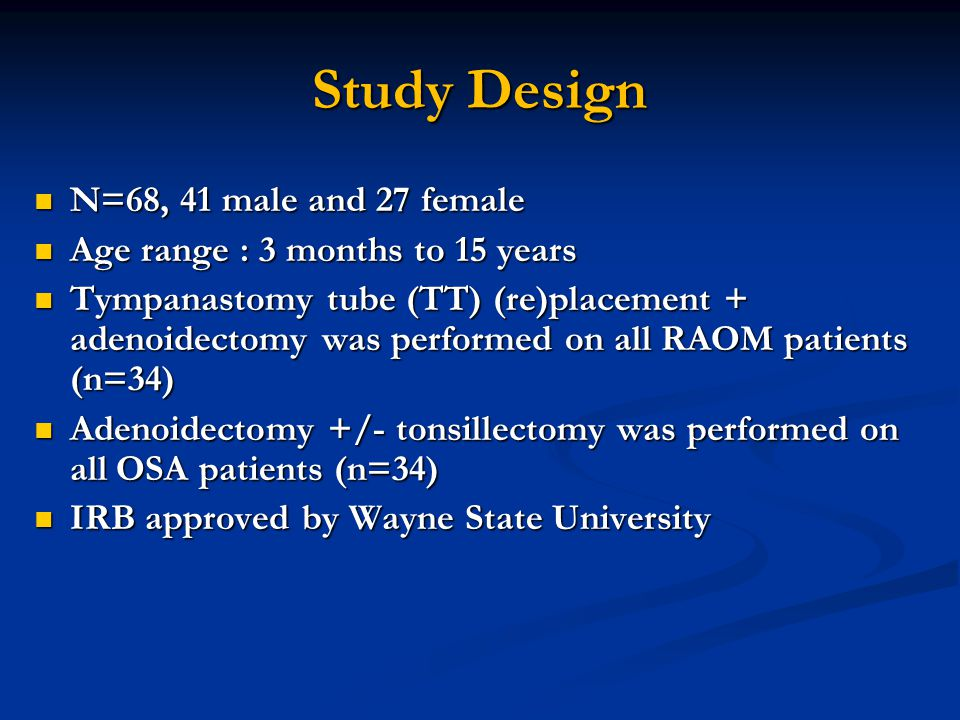 Study Design N=68, 41 male and 27 female