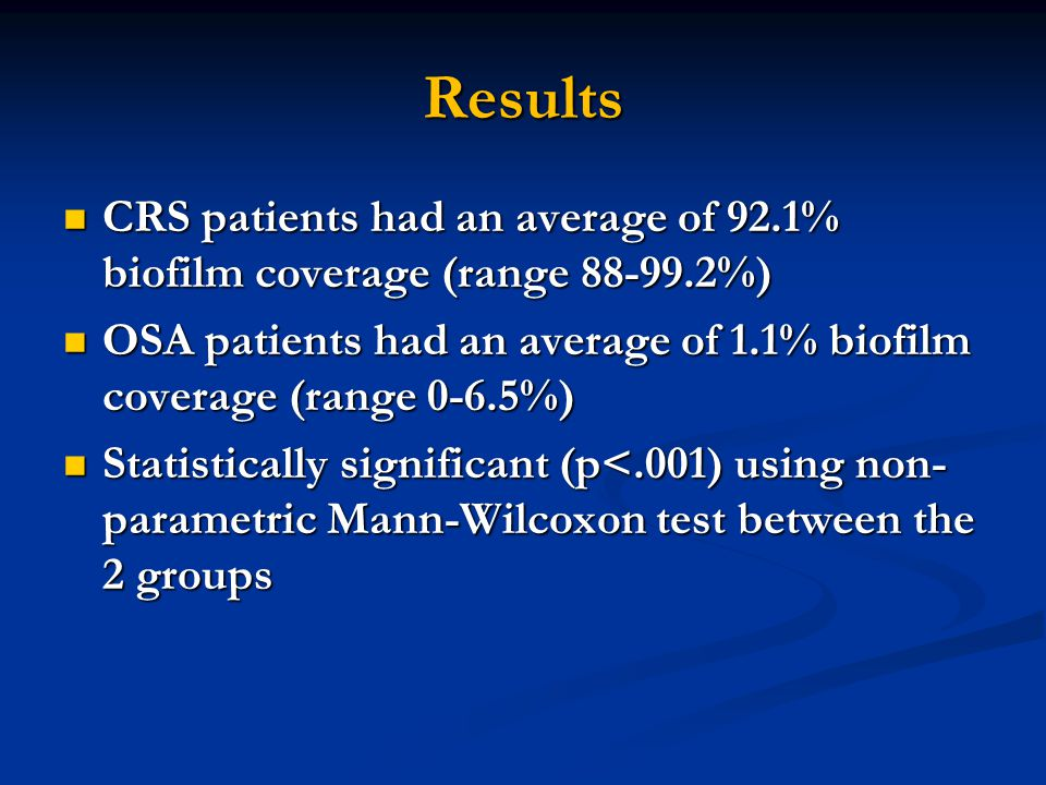 Results CRS patients had an average of 92.1% biofilm coverage (range 88-99.2%) OSA patients had an average of 1.1% biofilm coverage (range 0-6.5%)