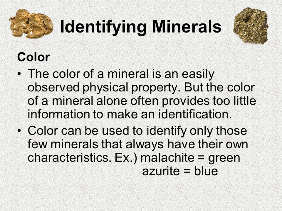 Identifying Minerals Color