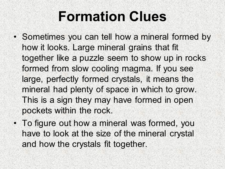 Formation Clues