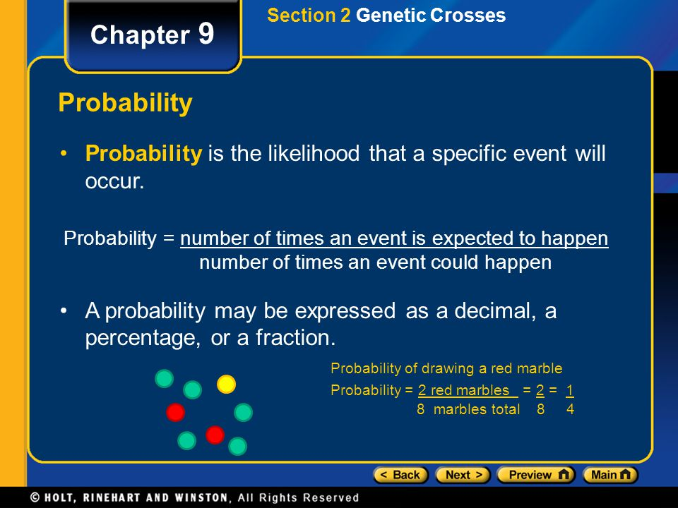 Probability = number of times an event is expected to happen