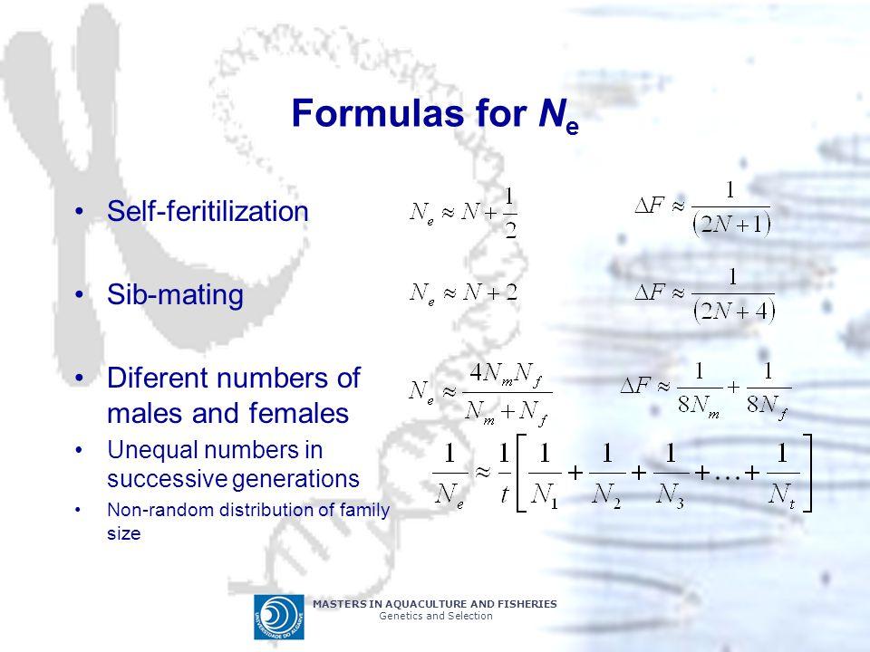 Formulas for Ne Self-feritilization Sib-mating