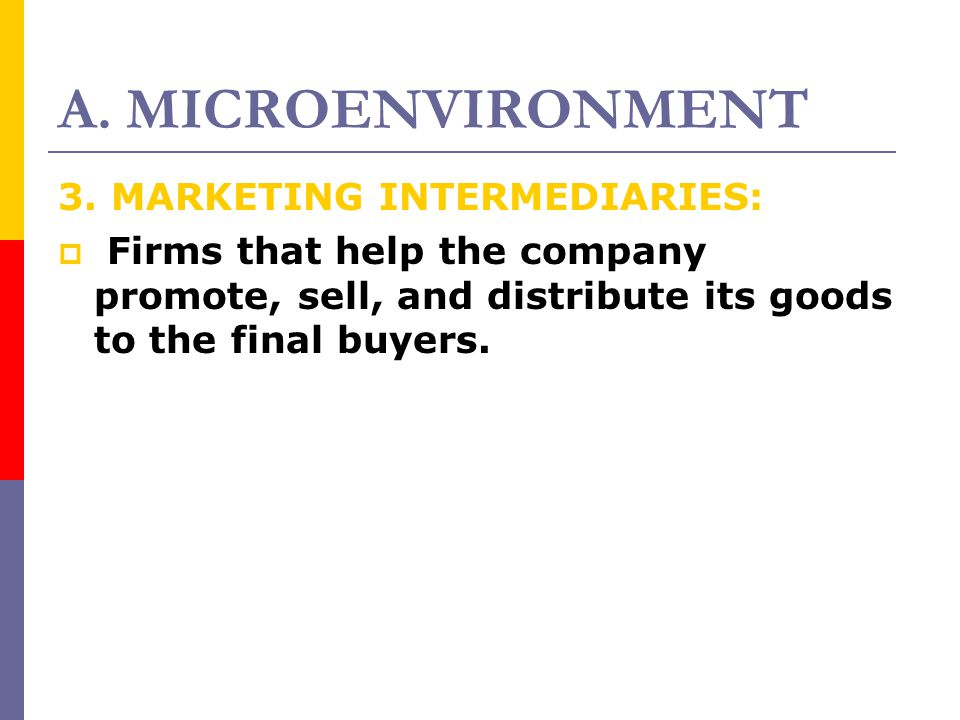 A. MICROENVIRONMENT 3. MARKETING INTERMEDIARIES: