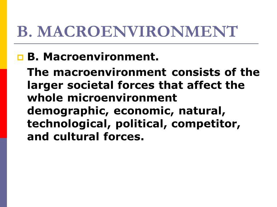 B. MACROENVIRONMENT B. Macroenvironment.