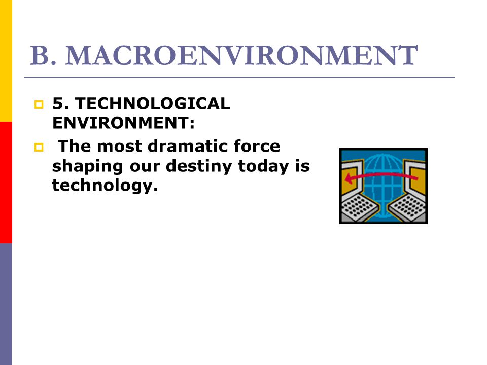 B. MACROENVIRONMENT 5. TECHNOLOGICAL ENVIRONMENT:
