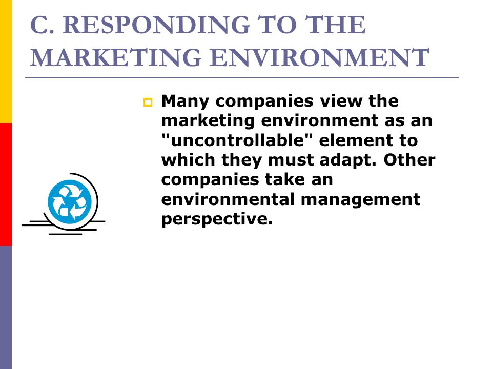 C. RESPONDING TO THE MARKETING ENVIRONMENT