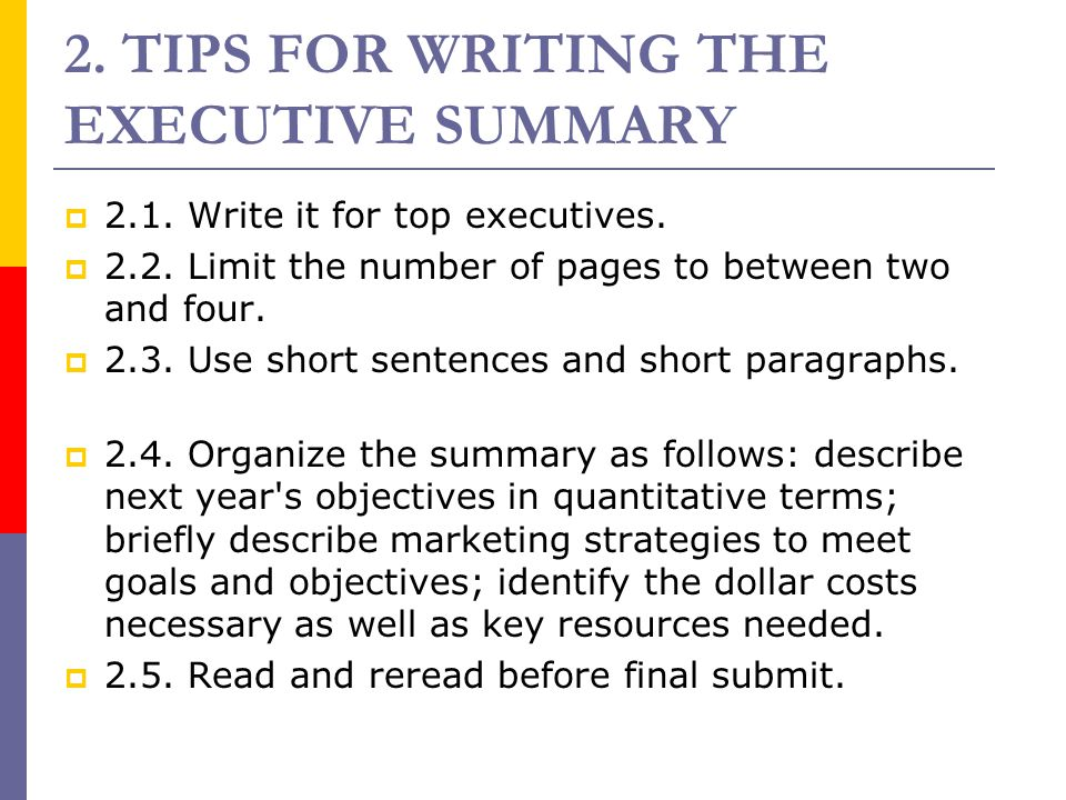 2. TIPS FOR WRITING THE EXECUTIVE SUMMARY