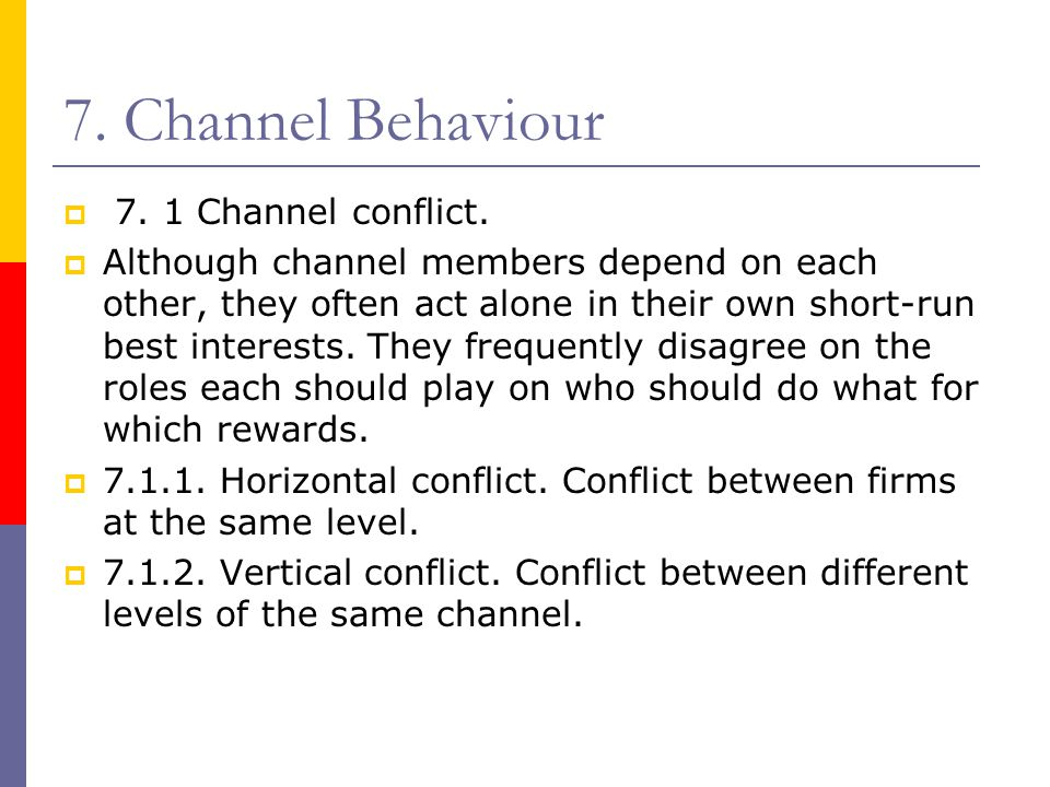7. Channel Behaviour 7. 1 Channel conflict.