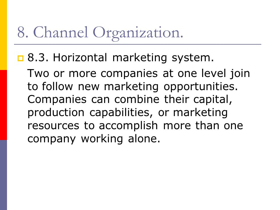 8. Channel Organization. 8.3. Horizontal marketing system.