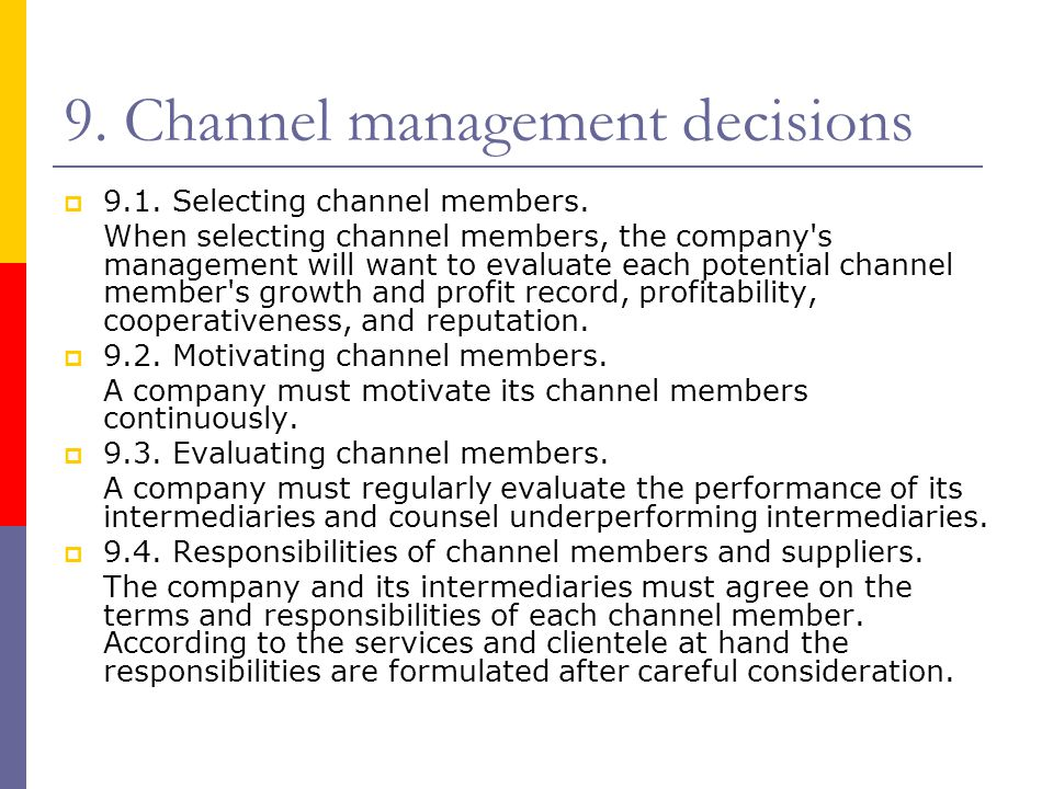 9. Channel management decisions