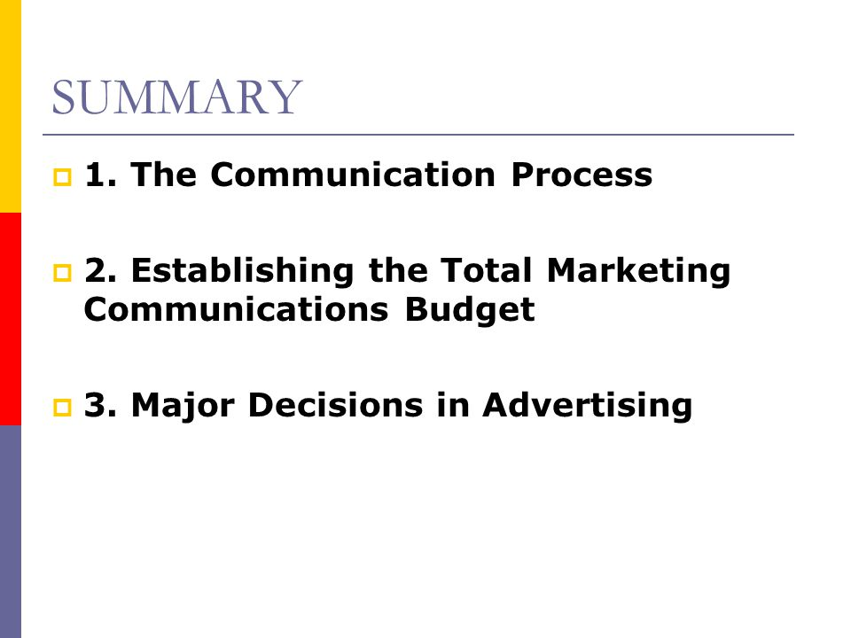 SUMMARY 1. The Communication Process