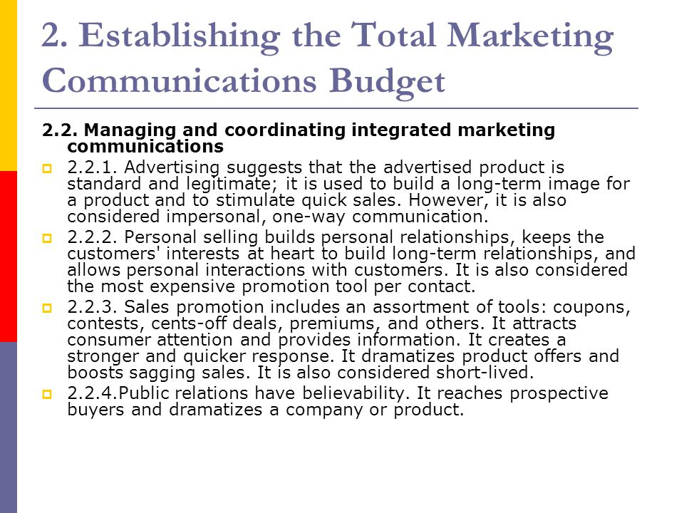 2. Establishing the Total Marketing Communications Budget
