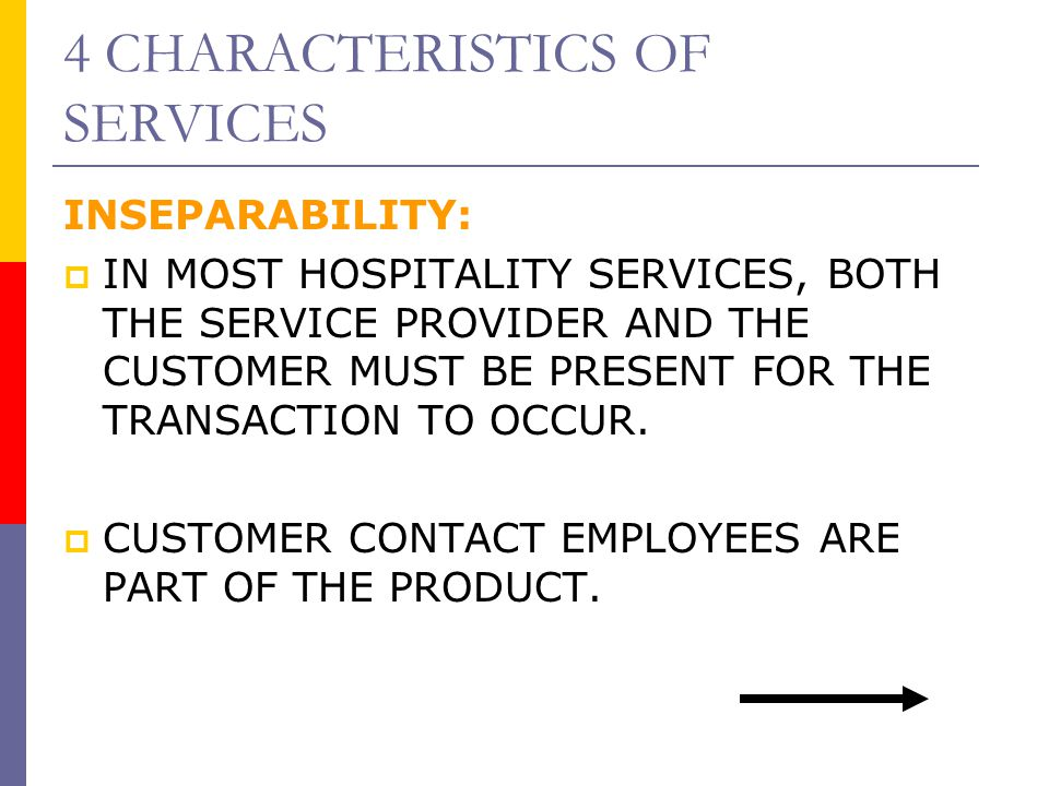 4 CHARACTERISTICS OF SERVICES