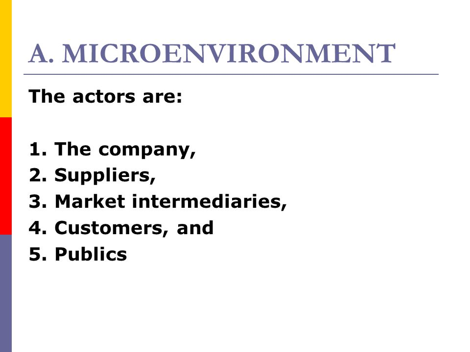 A. MICROENVIRONMENT The actors are: 1. The company, 2. Suppliers,