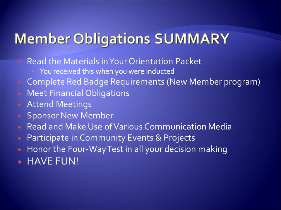 Member Obligations SUMMARY