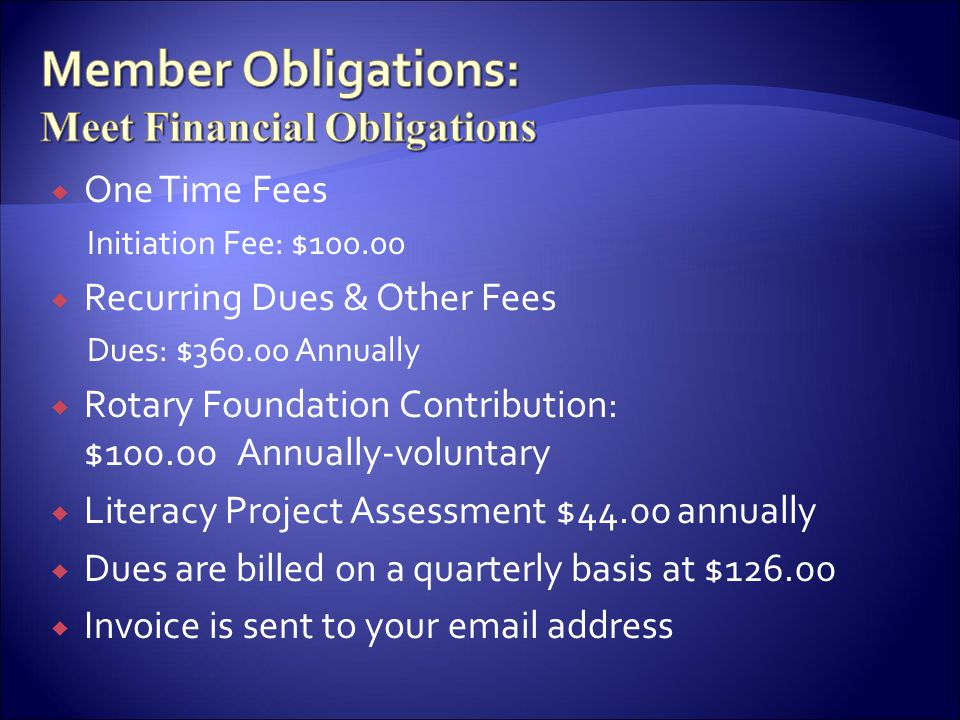 Member Obligations: Meet Financial Obligations