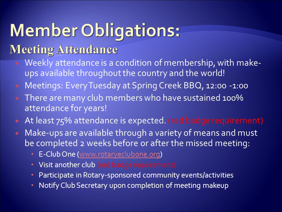 Member Obligations: Meeting Attendance