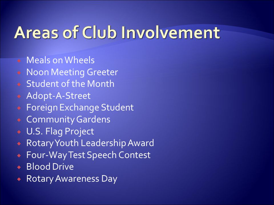 Areas of Club Involvement