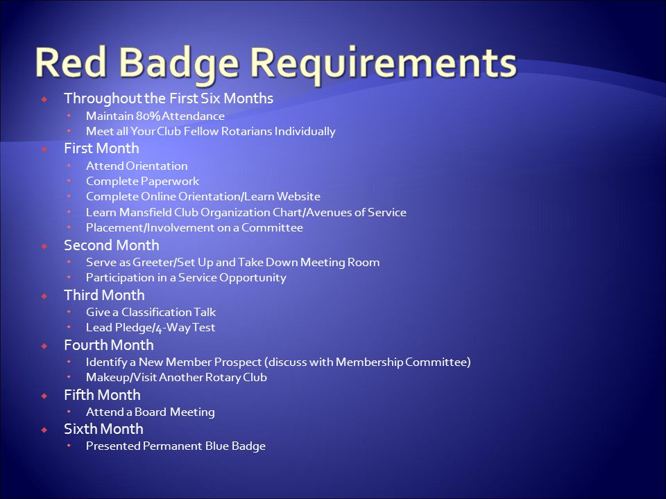 Red Badge Requirements