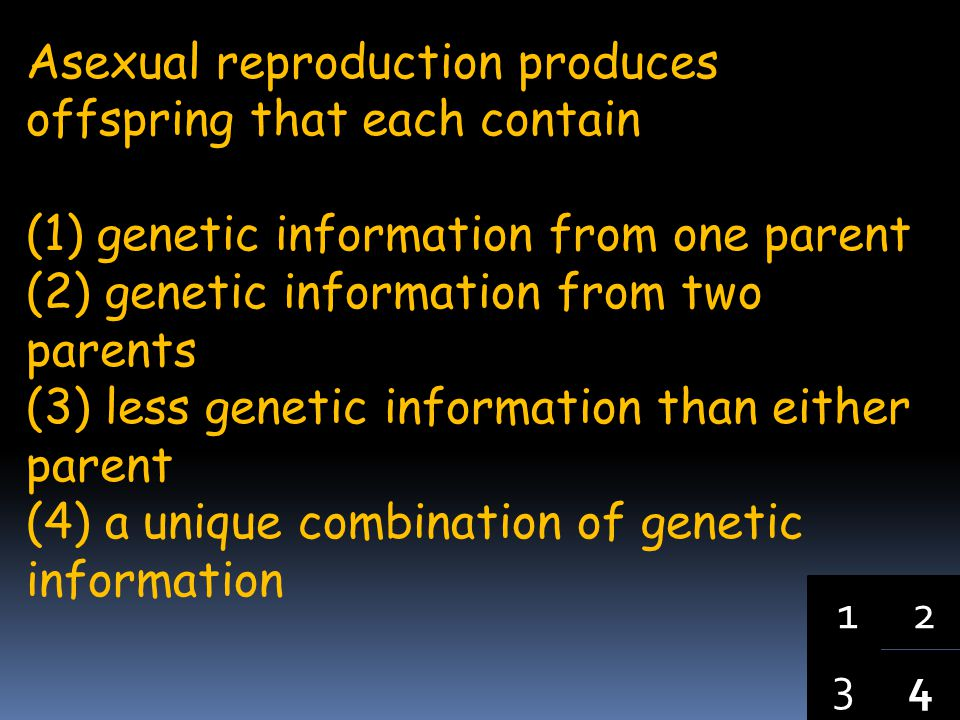 Asexual reproduction produces offspring that each contain
