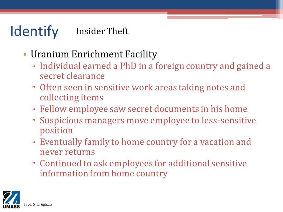 Identify Uranium Enrichment Facility Insider Theft