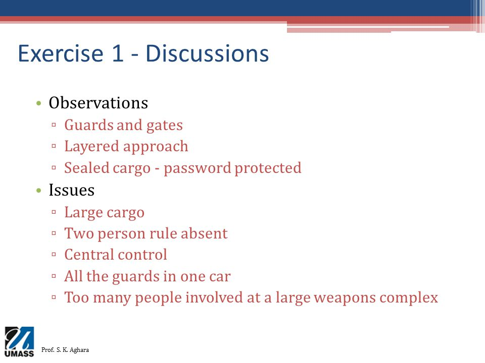 Exercise 1 - Discussions
