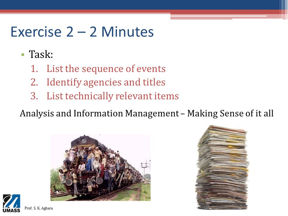 Exercise 2 – 2 Minutes Task: List the sequence of events