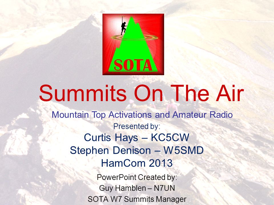 PowerPoint Created by: Guy Hamblen – N7UN SOTA W7 Summits Manager