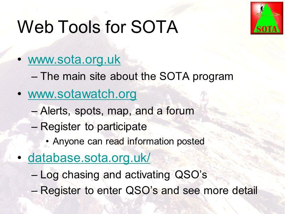 Web Tools for SOTA www.sota.org.uk www.sotawatch.org