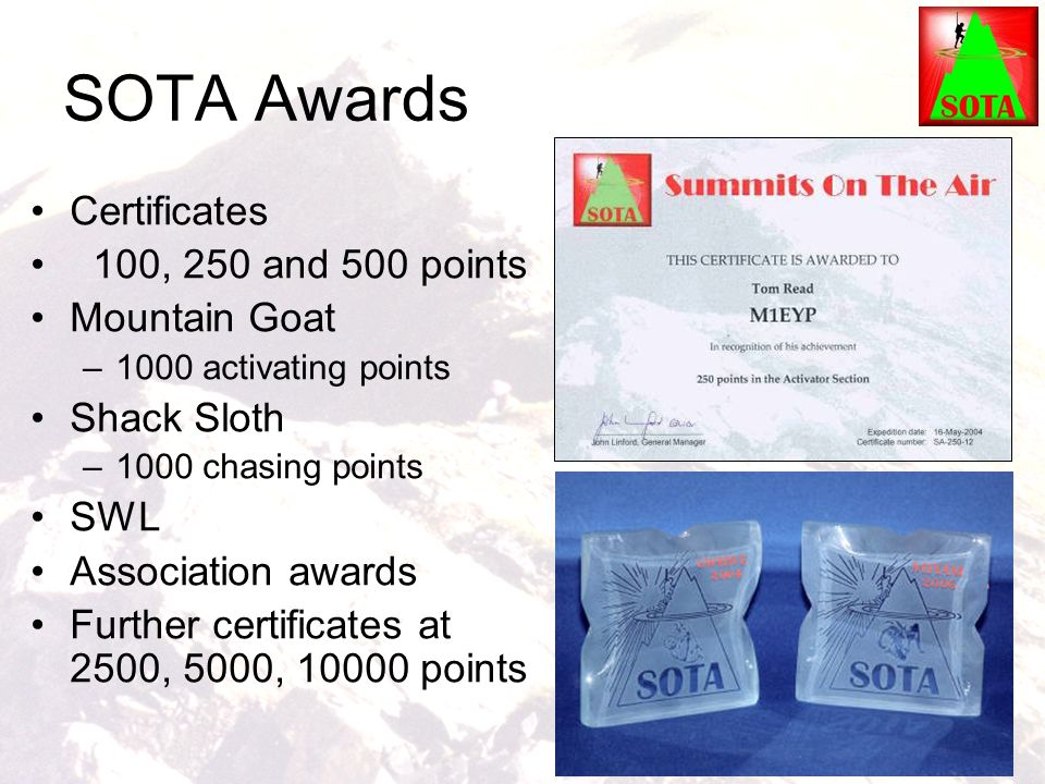 SOTA Awards Certificates 100, 250 and 500 points Mountain Goat
