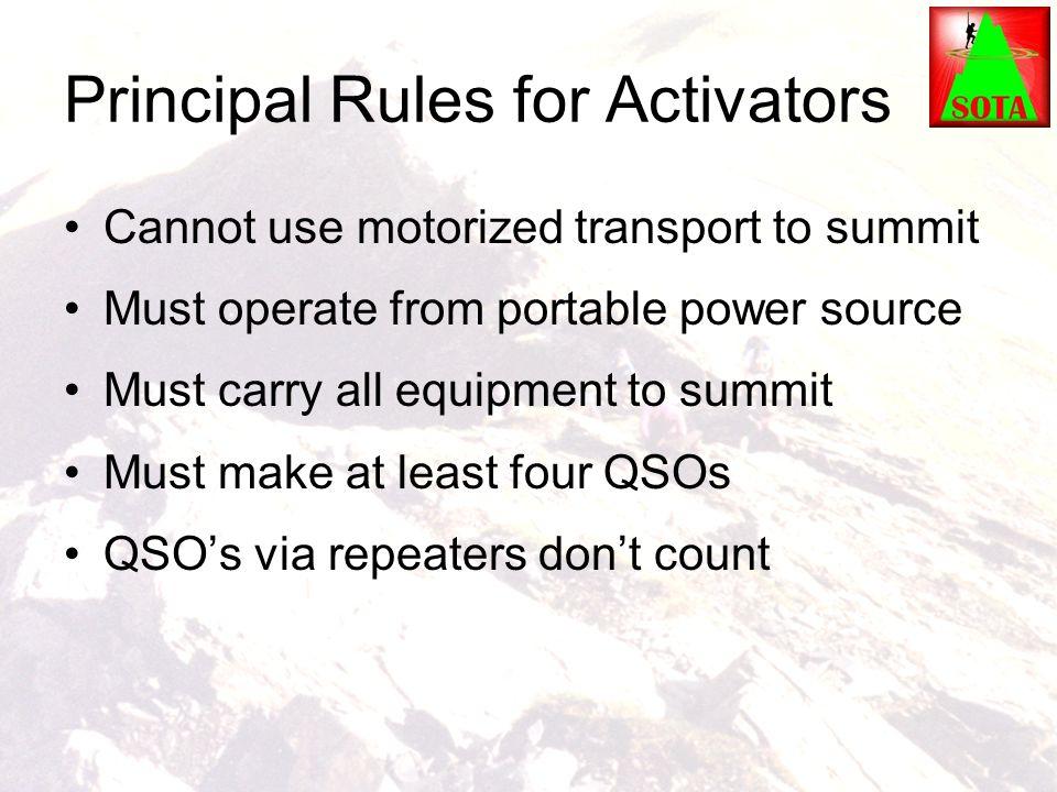 Principal Rules for Activators