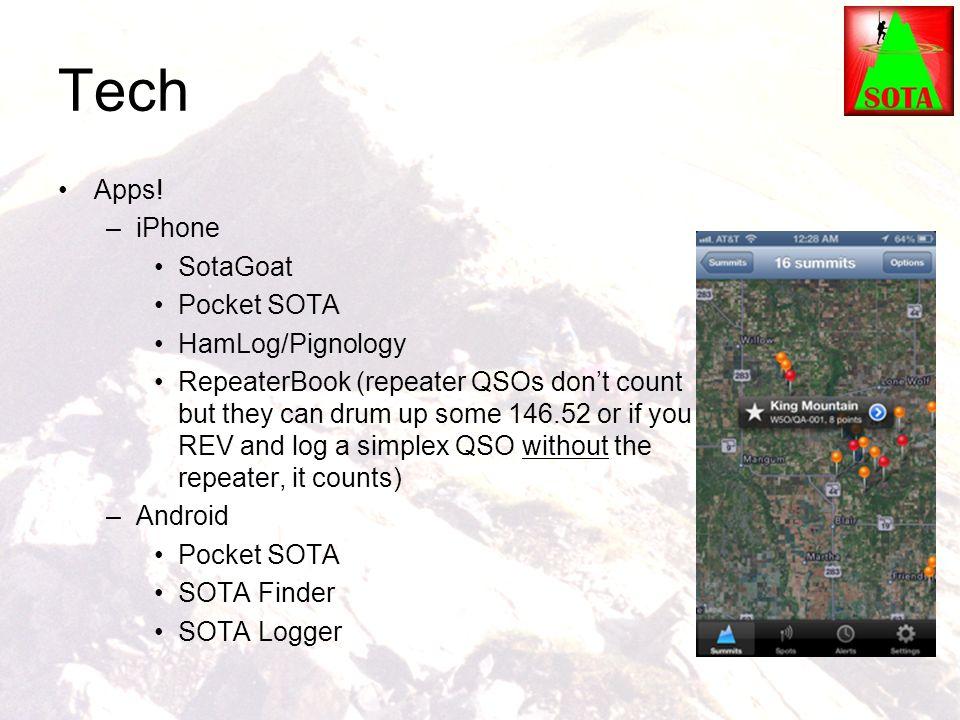 Tech Apps! iPhone SotaGoat Pocket SOTA HamLog/Pignology