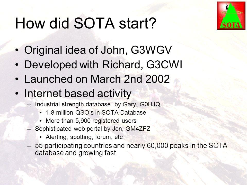 How did SOTA start Original idea of John, G3WGV