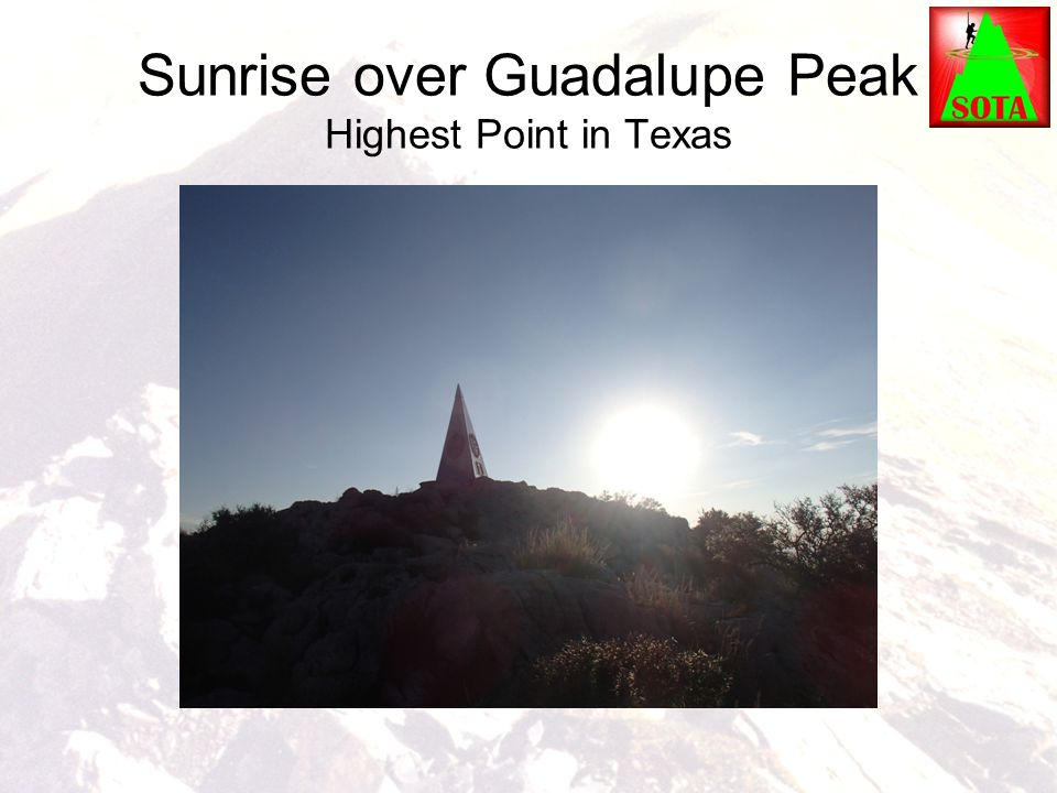 Sunrise over Guadalupe Peak Highest Point in Texas