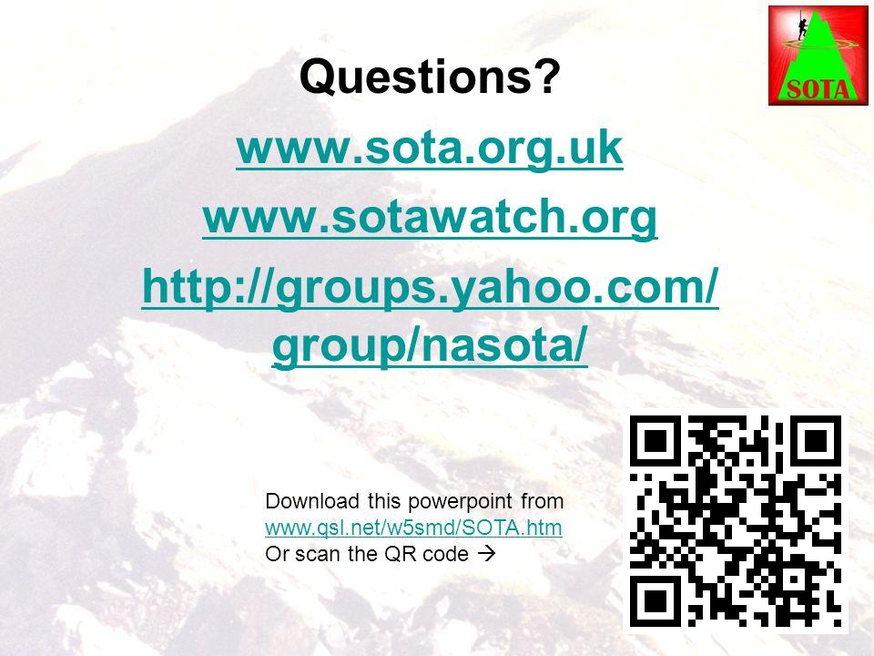 Questions www.sota.org.uk www.sotawatch.org