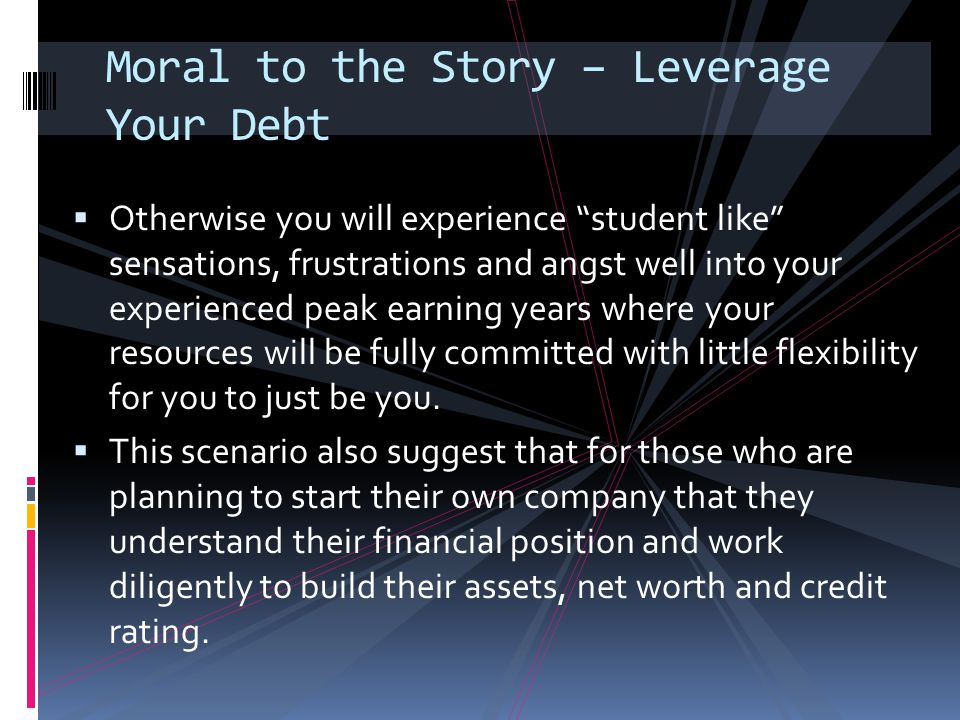 Moral to the Story – Leverage Your Debt