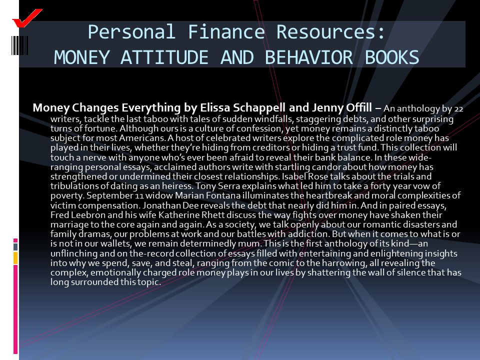 Personal Finance Resources: MONEY ATTITUDE AND BEHAVIOR BOOKS