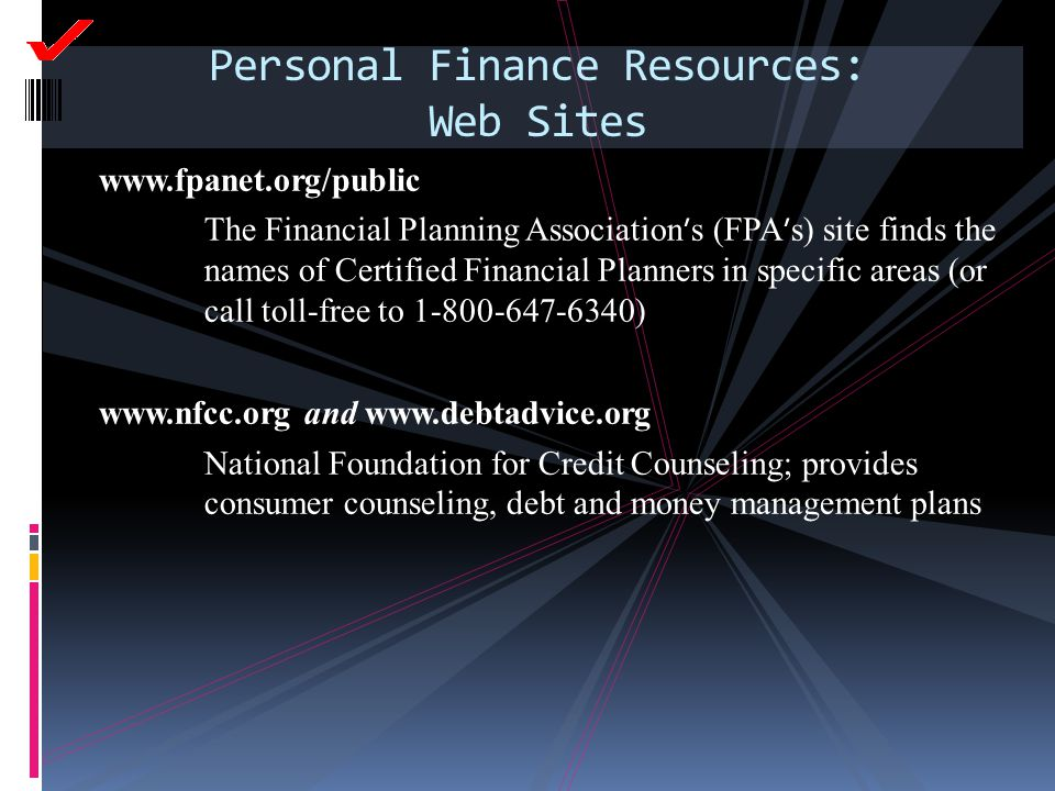 Personal Finance Resources: Web Sites