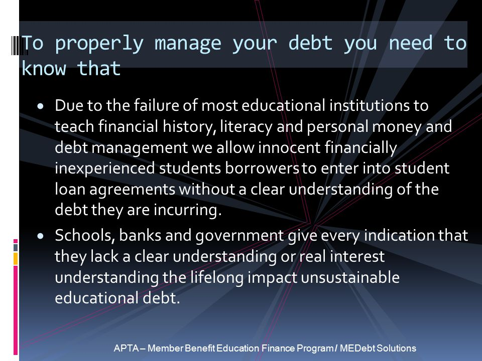 To properly manage your debt you need to know that